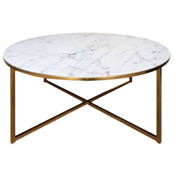 Almaz sofabord Ø80 cm i glas med marmorprint og stel i gylden chrome.