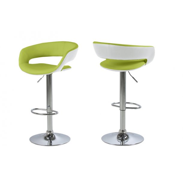 Gramma barstol hvid og limegrøn PU kunstlæder og med fod i chrome og med gaspatron.