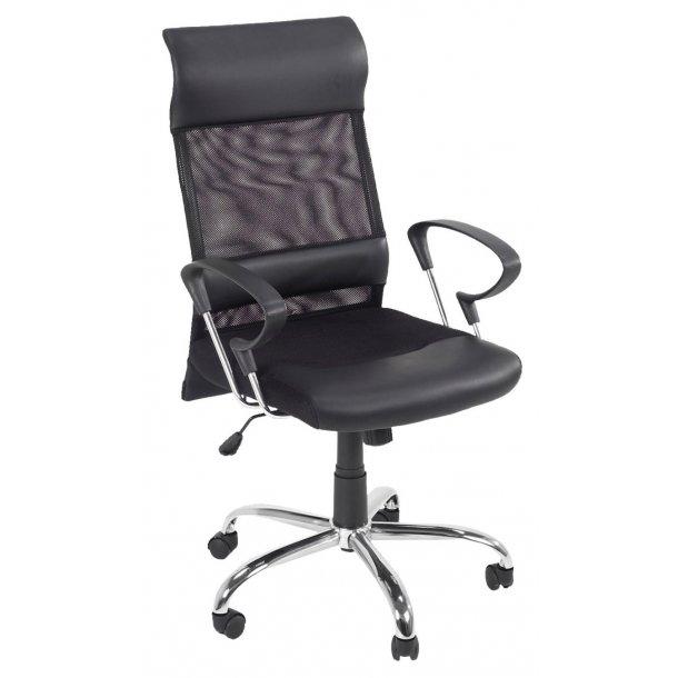 Race kontorstol sort mesh, sort PU kunstlæder og chrome stel med tilt funktion.