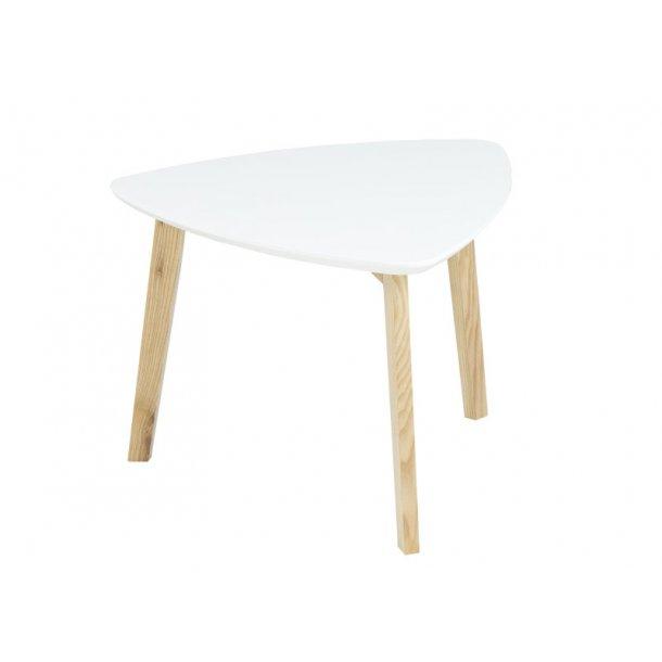 Hjørnebord Vips hvid med ben i massiv ask.