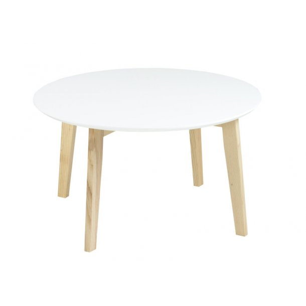 Mona sofabord Ø80 cm hvid træ bordplade og ben i massiv ask.