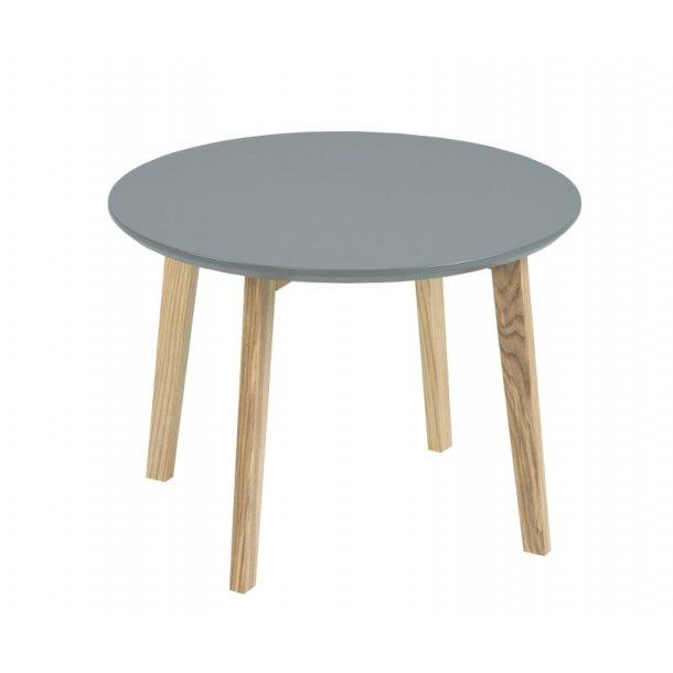 Mona mørk grå hjørnebord Ø50 cm og ben i massiv ask.
