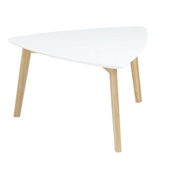 Sofabord Vips hvid med ben i massiv ask.