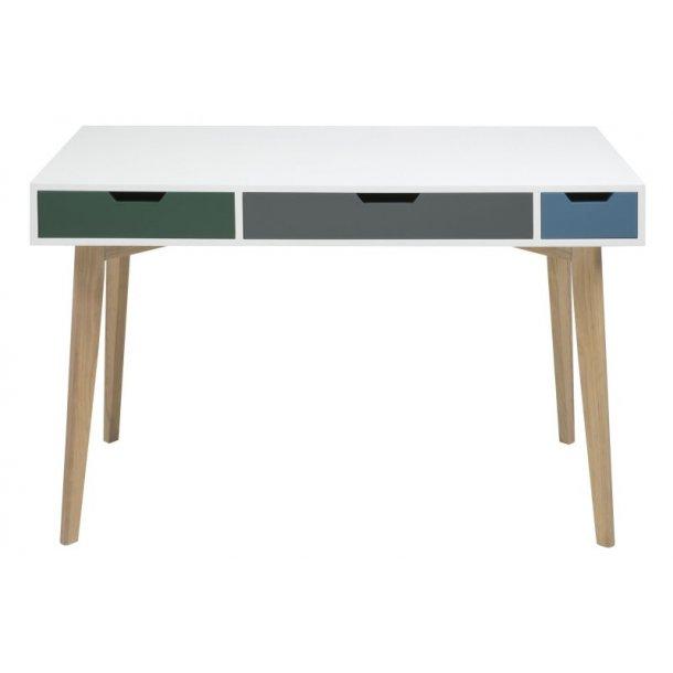 Tenna skrivebord i hvit med 3 skuffer i grønn, grå og lyseblå. Ben i massiv ask.