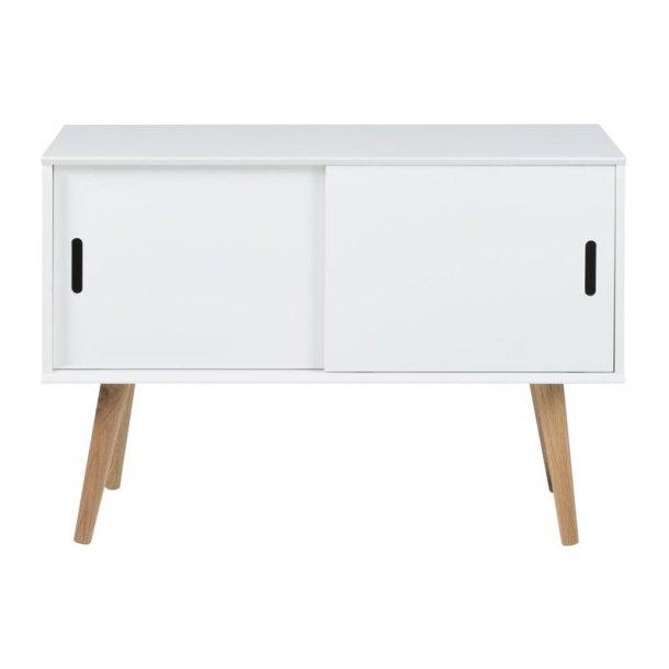mike kommode mit eichen beinen und 2 schiebet ren in weiss bestellen sie hier. Black Bedroom Furniture Sets. Home Design Ideas