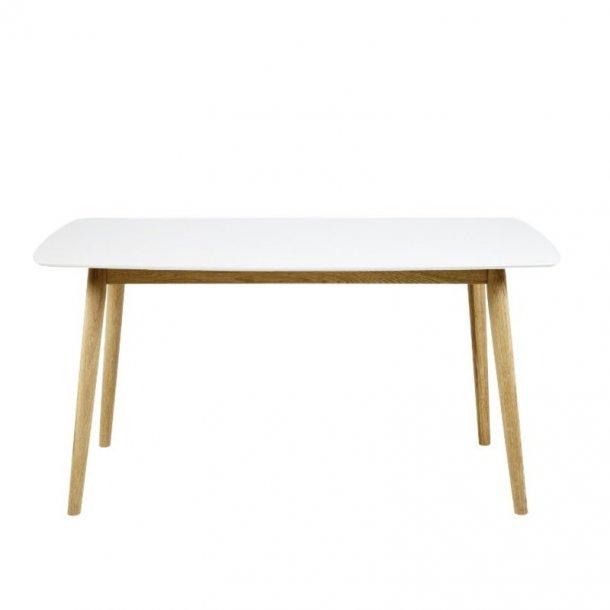 Naila spisebord 80 x 150 cm med hvid træ bordplade og stel i massiv eg.