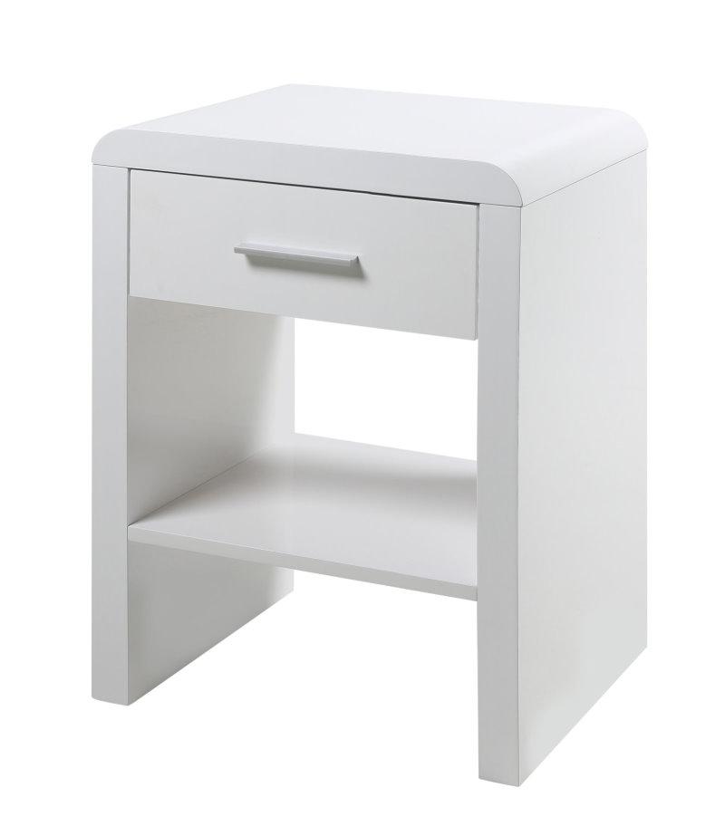 sussi nachttisch mit schublade und ablage in wei hochglanz bestellen sie hier. Black Bedroom Furniture Sets. Home Design Ideas