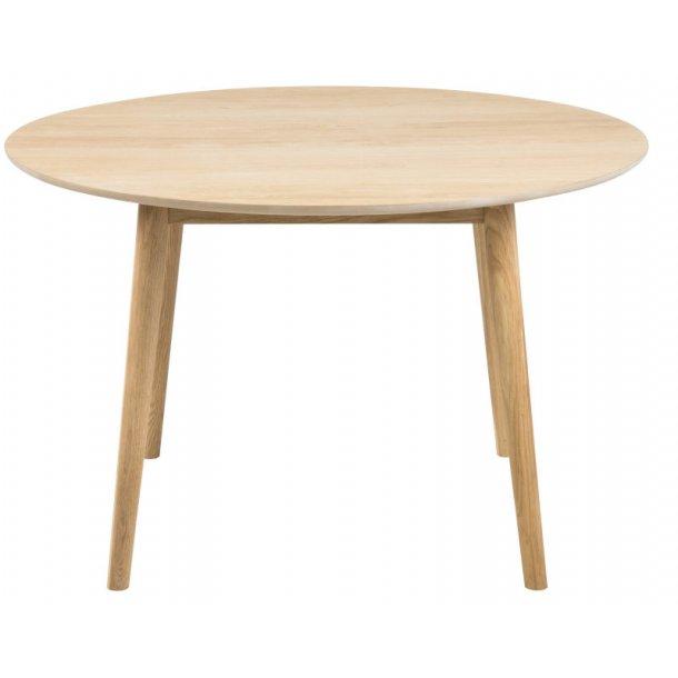 Spisebord Naya Ø 120 cm i massiv tre i eik og eik finer oljebehandlet.