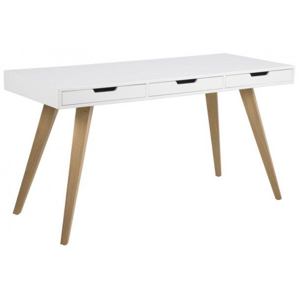 Skrivebord Ester med 3 skuffer i hvit med ben i massiv ask.