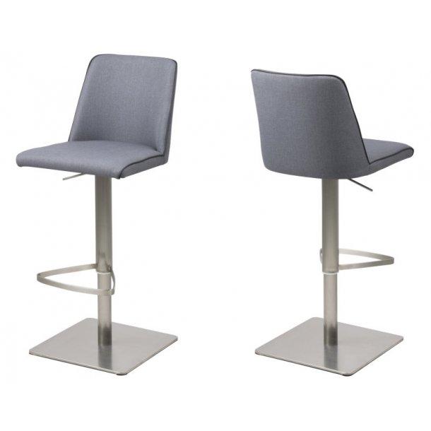 Alike barstol i mørkegrå stof med hæve, sænke funktion.