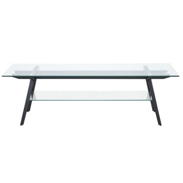Mynte TV bord med glasplade og 1 glashylde samt stel i metal sort.