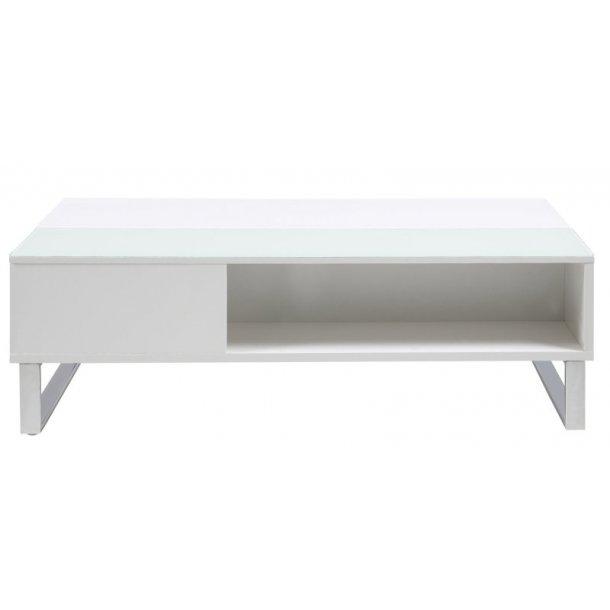 Allan sofabord med plass til oppbevaring. Hvit glassplate, hvit høyglans og krom stell.