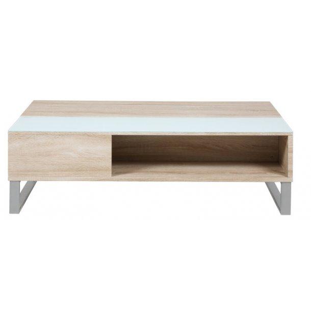 Allan sofabord med plads til opbevaring. Hvid glasplade, eg dekor og metal stel.