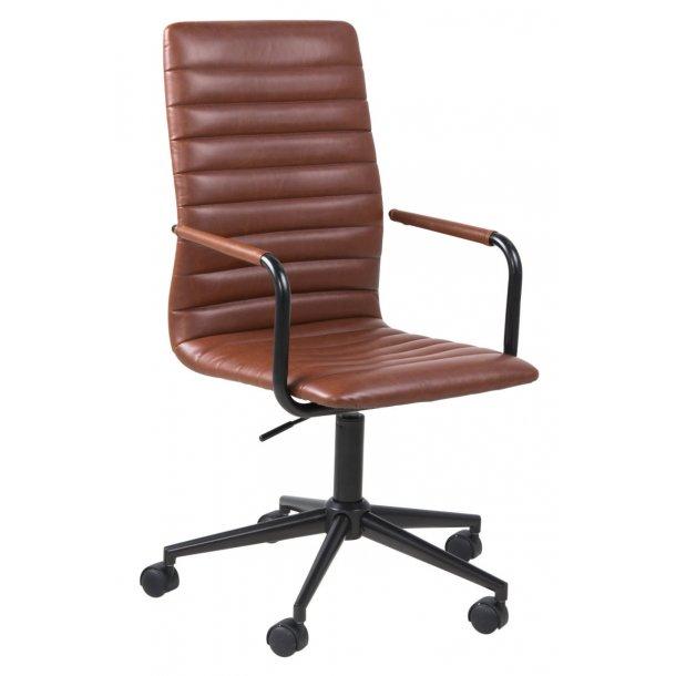 Wips kontorstol med armlæn i cognac farvet vintage look PU kunstlæder.