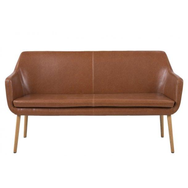 Noel sofabænk i cognac farvet vintage PU kunstlæder.