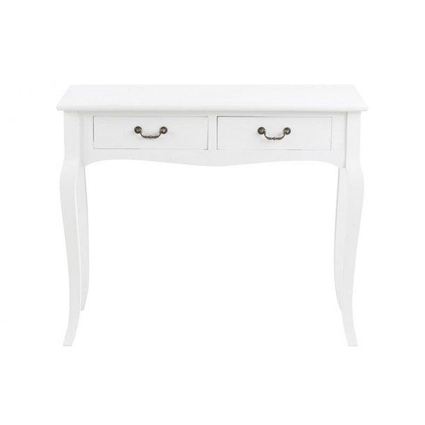 Camy konsolbord med 2 skuffer i antik look hvid.