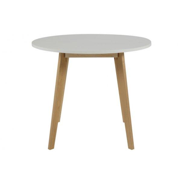 Riko spisebord i hvid og birk, Ø 90 cm.