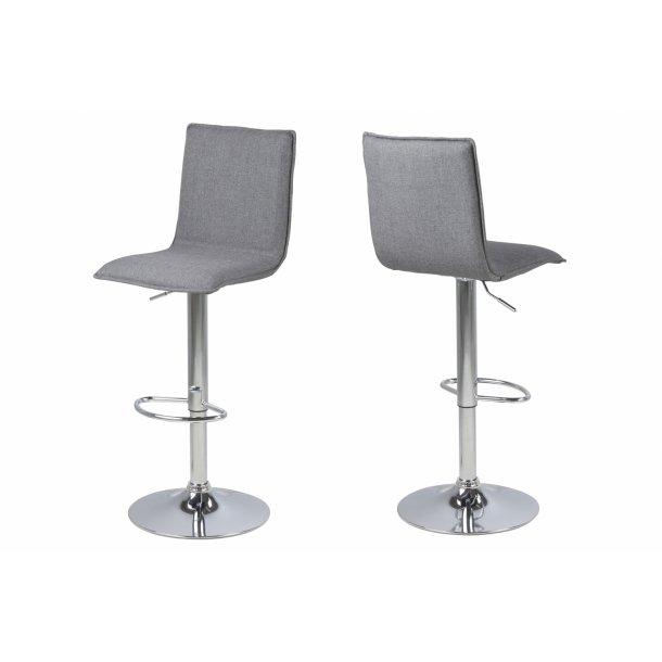 Anke barstol med trompetfod og i stof grå.