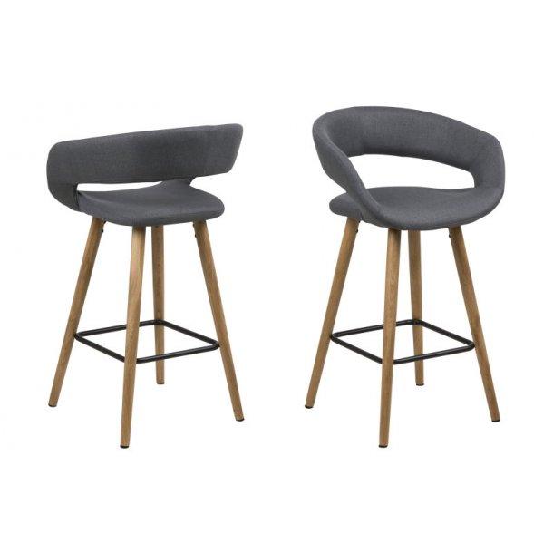 Gramma counter stol højde 87 cm i mørk grå med ege stel.
