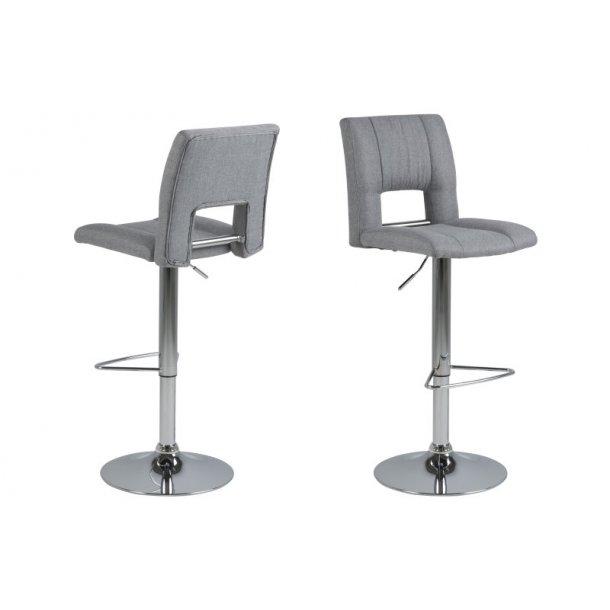 Sys barstol i lys grå med gaspatron.