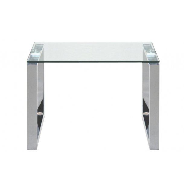 Kate hjørnebord klar glas og chrome stel.