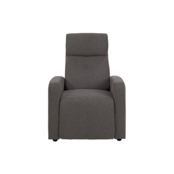 Jade lænestol i grå stof med justerbar nakkestøtte og ligge funktion.