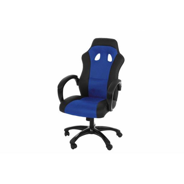 Ravn kontorstol, gamer stol med armlæn og tilt funktion i blå og sort.