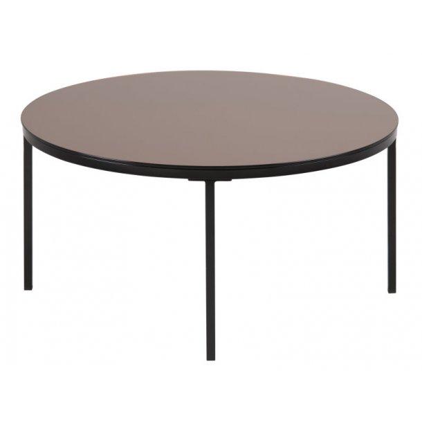 Grace sofabord med bronzefarvet glas, Ø 80 cm.