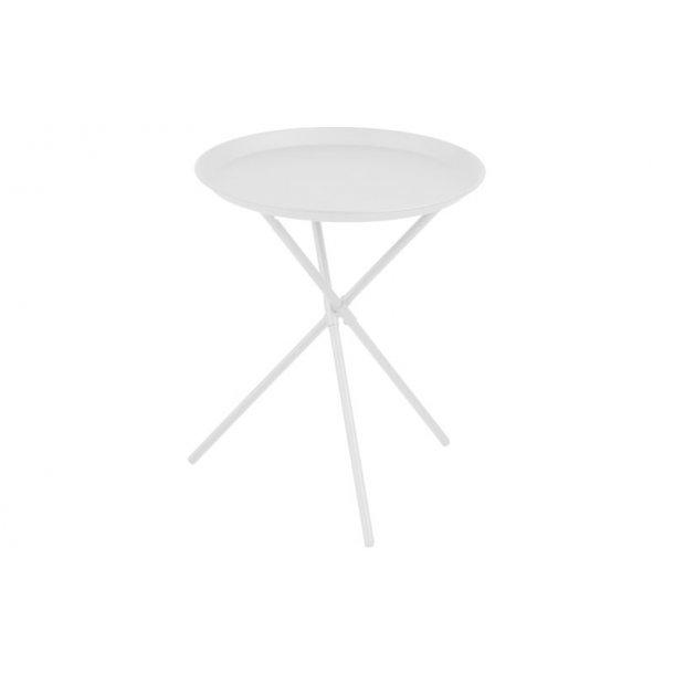 Clips hjørnebord i metal hvid pulverlakeret, Ø 38,5 cm.