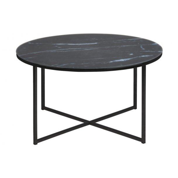 Almaz sofabord i glas med sort marmorprint, Ø 80 cm.