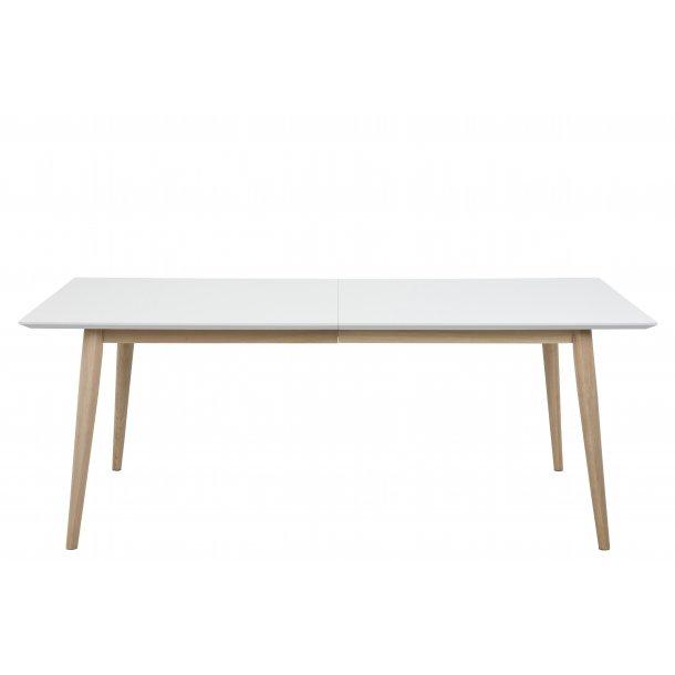 Cent spisebord 100 x 200 cm hvid og eg hvidpigment olie, forberedt til tillægsplader.