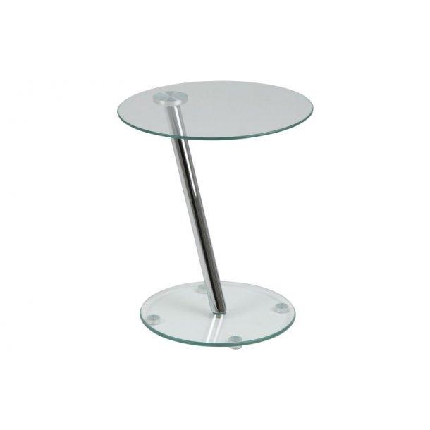 Darie hjørnebord i klar glas, Ø 38 cm. Leveres færdig samlet