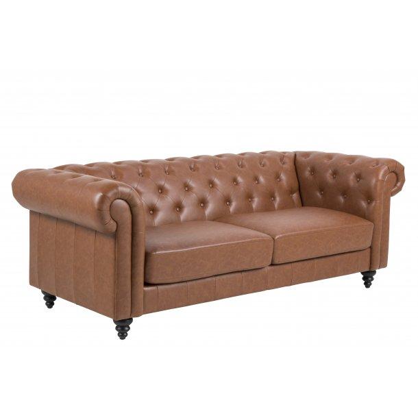 Charlie sofa 3 personers, cognac PU kunstlæder.