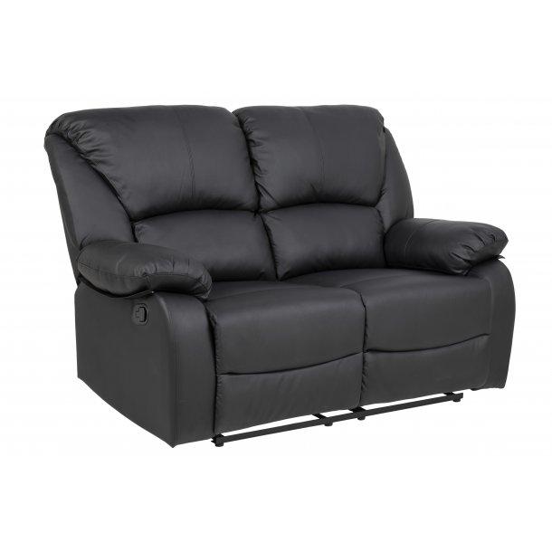 Hela recliner sofa 2 personers med justerbar ryg og fodstøtte i sort PU kunstlæder.