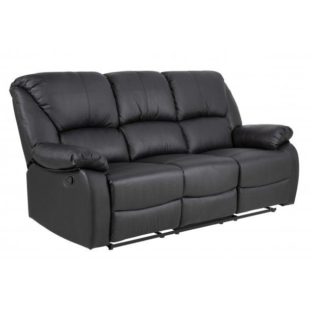 Hela recliner sofa 3 personers med justerbar ryg og fodstøtte i sort PU kunstlæder.