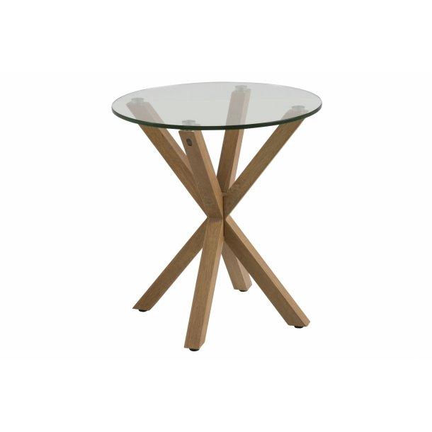 Heat hjørnebord Ø50 cm bordplade i glas og stel i metal m ege folie.
