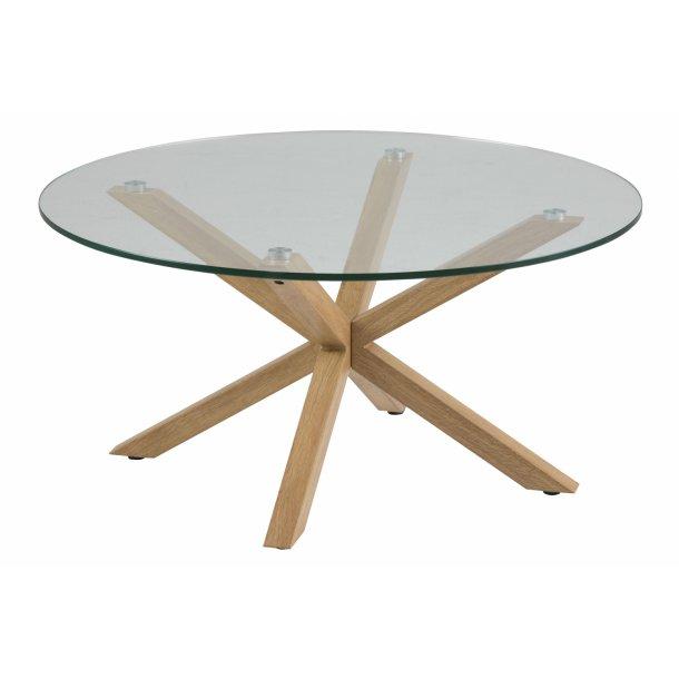 Heat sofabord Ø82 cm bordplade i glas og stel i metal m ege folie.