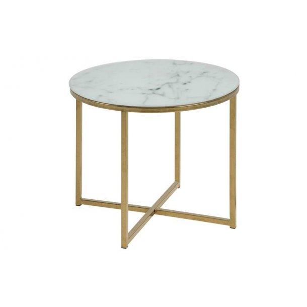Almaz hjørnebord Ø 50 cm i glas med marmor print og stel i gylden chrome.