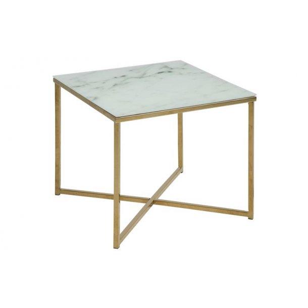 Almaz hjørnebord 50 x 50 cm i glas med marmor print og stel i gylden chrome.