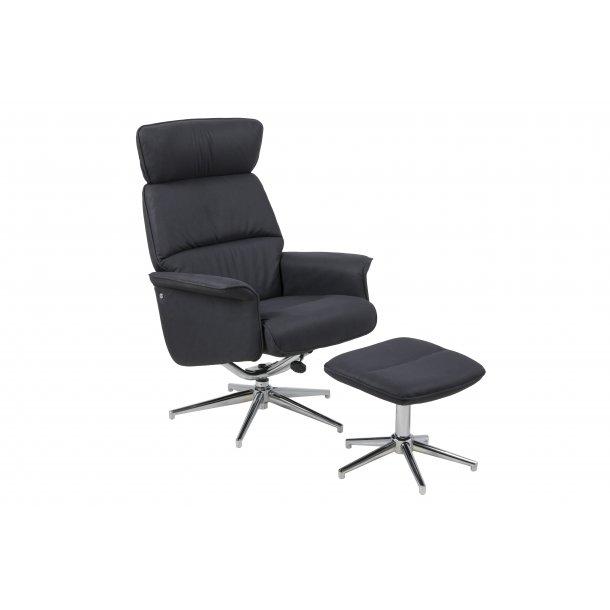 Alumi recliner lænestol med fodskammel i sort stof.