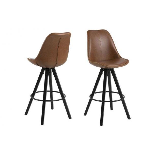 Dry barstol som skalstol i PU kunstlæder vintage cognac farvet.