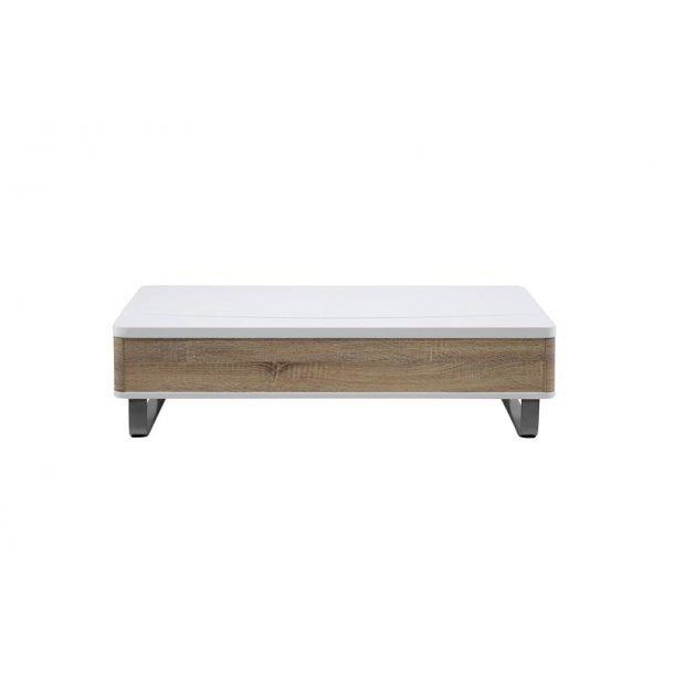 Pam sofabord med hejs, ege dekor og højglans hvid.