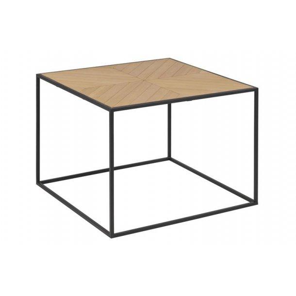 Orcean sofabord 60 x 60 cm i kejsertræ finer og ben i sort metal.