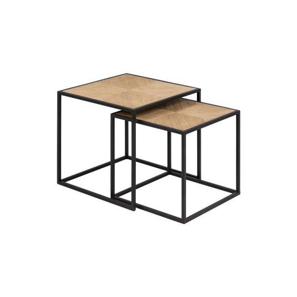Orcean sofabord, indskudsborde 2 stk. i kejsertræ finer og sort metal ben.