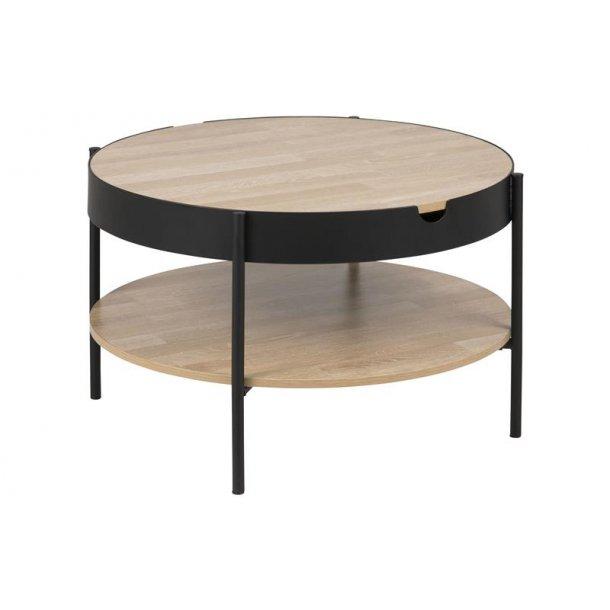 Tipon sofabord Ø 75 cm med 1 hylde i ege dekor og sort pulverlakeret metal ben.