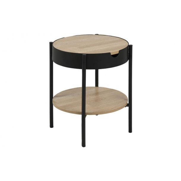 Tipon bakkebord Ø 45 cm med 1 hylde i ege dekor og sort pulverlakeret metal ben.