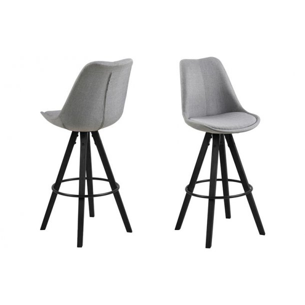 Dry barstol som skalstol i stof lysegrå og ben i sort.