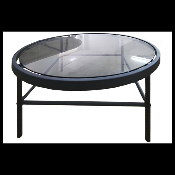 Home sofabord med glas i røgfarvet og sort pulverlakeret stel.