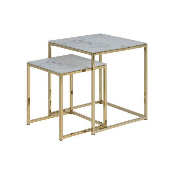 Almaz indskudsborde 2 stk. i glas med marmor print i hvid og ben i gylden chrome.