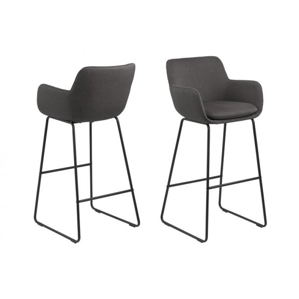 Lira barstol i mørk grå og pulverlakeret stel i sort.
